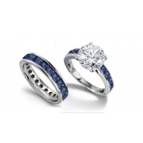 Brilliant Cut Round Diamond & Square Blue Sapphire Engagement Ring & Matching Wedding Band in Platinum