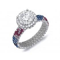Hand-MadePave Cluster Diamond & Multi-Colored Precious Stones Rubies, Emeralds & Blue, Pink, Purple, Yellow Sapphires