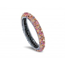 Delicate Women's Eternity Rings Featuring Blue Sapphires & Diamonds in Precision Micro pave Settings