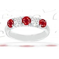 5 Stone Round Ruby & Diamond Anniversary Ring