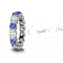 The Spell Will Endure: Blue Sapphire & Diamond Wedding Platinum Band