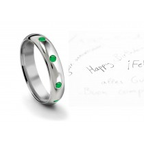 Tiffany Style Burnish Set Round Emerald Eternity Gold Ring