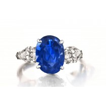 Custom Manufactured Three Stone Pear-Shaped Diamonds & Oval Blue Sapphire Ring