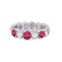 Shop Fine Quality Made To Order Round Bezel Set Diamond & Red Ruby Eternity Style Wedding & Anniversary Rings