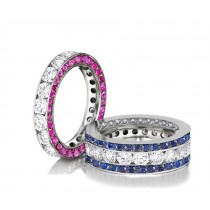 Made to Order Great Selection of Channel Set Brilliant Cut Round Diamonds , Blue & Pink SapphiresEternity Rings & Bands
