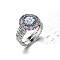 Delicate Micro Pave Halo Vivid Pink & Blue Sapphires & Brilliant-Cut Round Diamonds Designer Engagement Rings