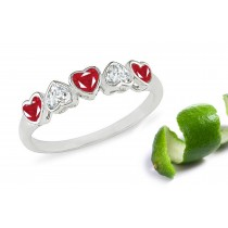 Heart to Heart:Bezel Set Red Heart Ruby& Diamond Eternity Band