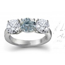 Premier Colored Diamonds Designer Collection - Blue Colored Diamonds & White Diamonds Fancy Blue Diamond Engagement Rings