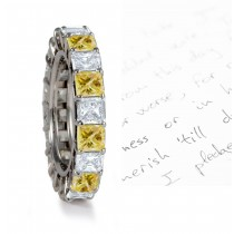 Premier Colored Diamonds Designer Collection - Yellow Colored Diamonds & White Diamonds Fancy Diamond Eternity Wedding Rings
