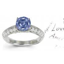 Blue Colored Diamonds & White Diamonds Fancy Blue Diamond Engagement Ring