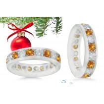 Platinum Colored Yellow Diamond Eternity Wedding Anniversary Rings