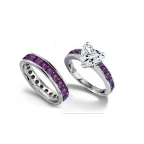 Heart Diamond & Princess Cut Purple Sapphire Engagement Ring & Purple Sapphire Wedding Band