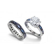 Round Diamond & Baguette Blue Sapphire Engagement Ring & Wedding Band in Gold