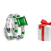 Craftsmanship: Princess Cut Emerald & Diamond Engagement & Wedding Set