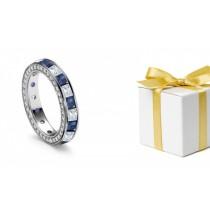 Special Design: Princess Cut Diamond & Sapphire Halo Wedding Ring