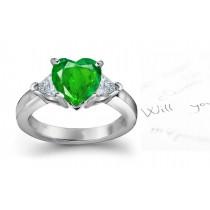 Latest Edition: Sparkling Trillion Diamond & Heart Emerald 3 Stone Ring in Platinum & Gold