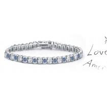 Blue Colored Diamonds & White Diamonds Fancy Blue Diamond Bracelet and Necklace