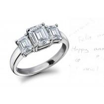 Diamond Anniversary Rings: Three-Stone (Ring with Three Octogon Diamonds) Ring in Platinum & 14K Gold.