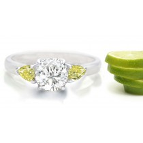 Premier Colored Diamonds Designer Collection - YellowColored Diamonds & White Diamonds Fancy Diamond Three Stone Engagement Rings
