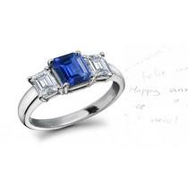 Strikingly Elegant:Simply Brilliant Three Stone Emerald Cut Blue Sapphire & Diamond Ring