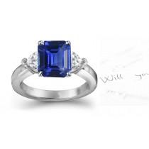 A Simply Amazing:Side Heart Diamonds & SapphireDiamond Engagement Ring