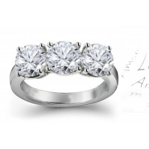 Three Stone Diamond Rings: Three Stone Diamond (Rings with Round Diamonds) Ring in Platinum & 14K White Yellow Gold.