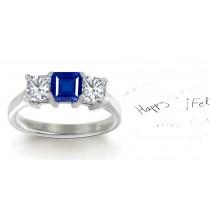 Perfection:Perfect Harmony Sapphire Diamond Ring Set with Square Blue Sapphire &Diamonds