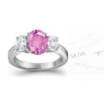 Pink Sapphire & Fancy Diamond Engagement Ring