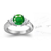 Rare Pure Precious:Designer Genuine Emerald Diamond Engagement Rings