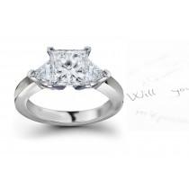 Three Stone Diamond Anniversary Ring: Three Stone Diamond (Rings with Princess Cut& Trillion Diamonds) Ring in Platinum & 14K White Yellow Gold.