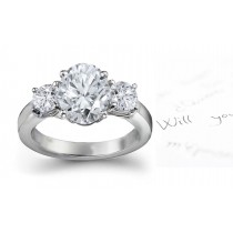 Three Stone Oval Diamond & Side Round Diamonds Three Stone Anniversary Ring