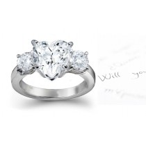 Three Stone Heart Diamond & Side Round Diamonds Three Stone Anniversary Ring