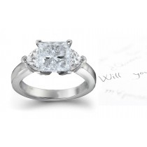 Three Stone Square Diamond & Side Heart Diamonds Three Stone Anniversary Ring