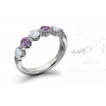 Premier Colored Diamonds Designer Collection - Pink Colored Diamonds & White Diamonds Fancy Diamond Five Stone Wedding & Anniversary Rings