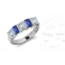 Diamond & Sapphire Wedding Rings Anniversary Bands