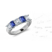 Sapphire Diamond Emerald Cut Half Eternity Bands.