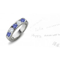 Seven Stone Rings: Sapphire Diamond Round Cut Half Eternity Bands.