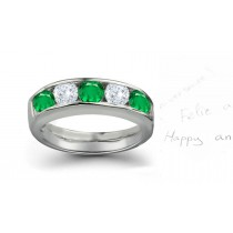 Five Stone Rings: Emerald Diamond Round Cut Half Eternity Bands.
