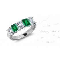 Five Stone Rings: Emerald Diamond Emerald Cut Half Eternity Bands.