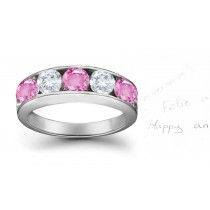 Five Stone Rings: Pink Sapphire Diamond Round Cut Half Eternity Bands.