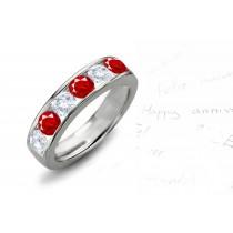 Diamond & Ruby Wedding Rings Anniversary Bands