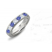 Blue Sapphire & Diamond Wedding Anniversary Bands