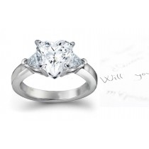Unique Diamond Ring: 3-Stone (Ring with Heart & Trillion Diamonds) Rings in Platinum & 14K White Yellow Gold.