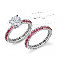 Individual Sizes: Round Diamond atop Ruby Diamond Scuplted-Edge Ring Jewelry & Ladies Eternity Jewelry Band
