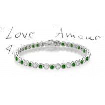 New Round Emerald & Round Diamond Bracelet and Necklace
