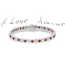 New Round Ruby & Round Diamond Bracelet and Necklace