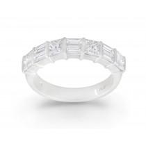 Platinum Baguette and Princess Cut Diamond Eternity Ring