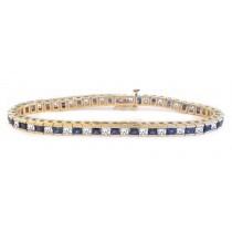 Platinum or Gold Sapphire and Diamond Tennis Bracelet
