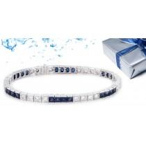 Gold Sapphire and Diamond Tennis Bracelet