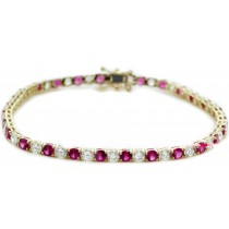 14K Yellow Gold Round Ruby and Diamond Tennis Bracelet